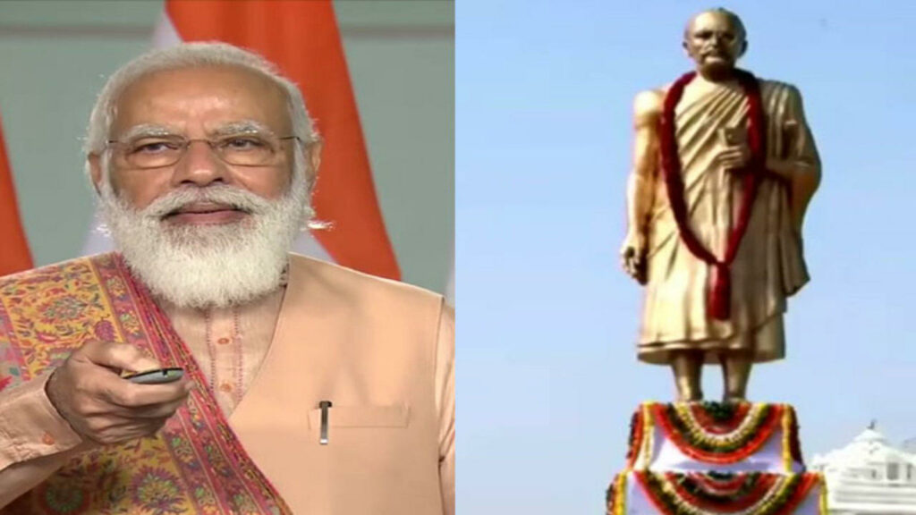 pm modi unveils statue of peace in rajasthans pali via video conferencing
